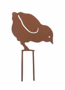 Metall-Gartenstecker Küken Rostbraun Beetstecker Gartendeko Gartenfigur Hühnchen