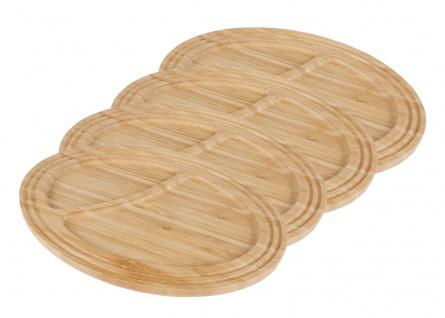 4 Bambus Servierplatten Frühstücksteller Servierteller Serviertablett Holzbrett
