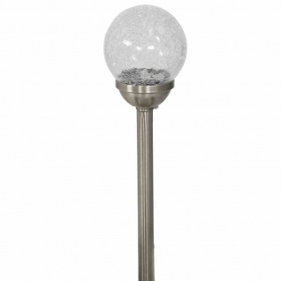 Solarleuchte Crushball XL, Edelstahl/Glas/Kunststoff, 1 LED, Ø12x56cm