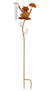 Gartenstecker Regenmesser Frosch mit Schirm Rost-Optik Gartendeko Beetstecker
