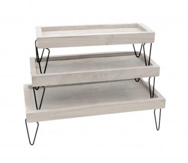 3tlg. Dekotablett-Set mit Metallfüßen Serviertablett Holztablett Dekoration