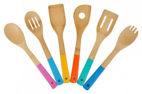 Bambus Küchenhelfer 6-teilig Kochbesteck Kochlöffel Pfannenwender Salatbesteck