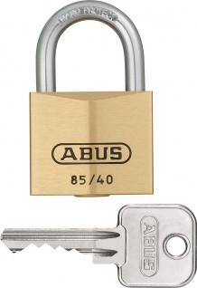 """ABUS ZYLINDER-HANGSCHL.-MESS- Messinghangschloss ,, Serie 85"""" 80630 Nr 85/40 Mm"""