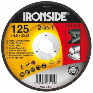 Schruppscheibe für Metall 115/6mm gekröpft, Bohrung 22 mm