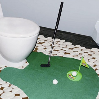 WC-Golfspiel Set Minigolf Klospiel Toiletten-Vorleger Partygag Hobby-Putter