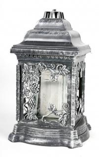 Grablaterne mit Öllicht 26cm Silber Grabschmuck Grabkerzen Grablicht Friedhof