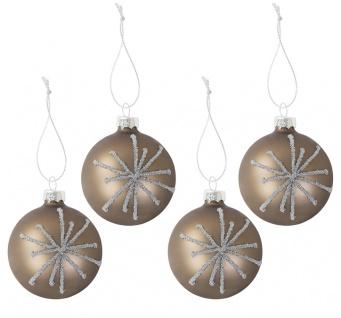 Glas-Christbaumkugeln Perla 4er-Set Weihnachtsbaumkugeln Tannenbaumschmuck 6cm