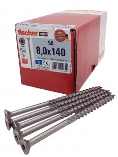 50x fischer Spanplattenschrauben 8, 0x140 Power Fast A2 TX Senkkopf Teilgewinde