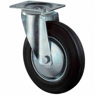Lenkrollen Gummi 200mm mit Feststeller 138x110mm 205kg Tragfähigkeit Rolle Räder