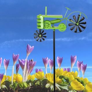 Metall-Gartenstecker Traktor grün Windspiel Gartendeko Beetstecker Gartenfigur - Vorschau 1