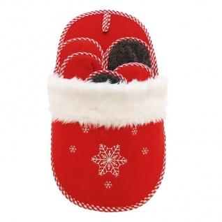 Weihnachts- Gästepantoffel - Set 5 Paar Hausschuhe Filz Rot/ Grau Schlaufe Wand