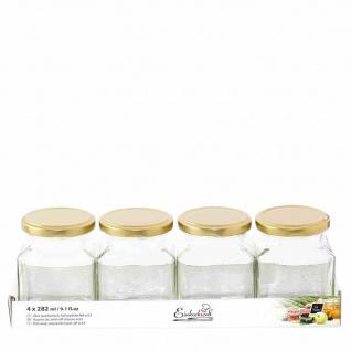 Quadratglas 4x282ml Einweckgläser Gläser Einkochen Vorrat Kochen Küchen Früchte