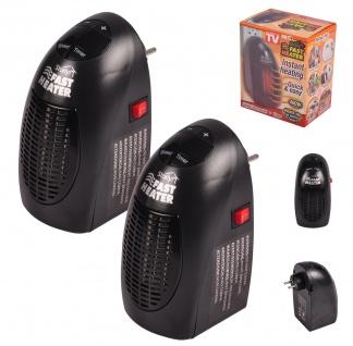 2x Starlyf® Fast Heater tragbare Miniheizung 400 Watt schwarz für Steckdose Set