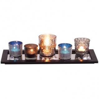 Dekotablett mit Windlichter Tischdeko Teelichthalter Kerzenständer Holztablett