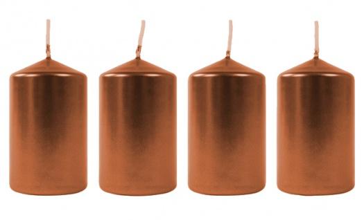 Metallic-Stumpenkerzen bronze 4er-Set Adventskerzen Weihnachtskerzen Tischdeko