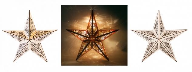 Holz-Weihnachtstern 40cm Adventsstern Weihnachtsdeko Fensterdeko Advent Stern