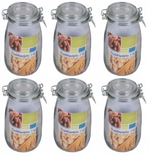 6x Drahtbügelglas 0, 95L Eimachgläser Einweckglas Vorratsglas Marmeladengläser