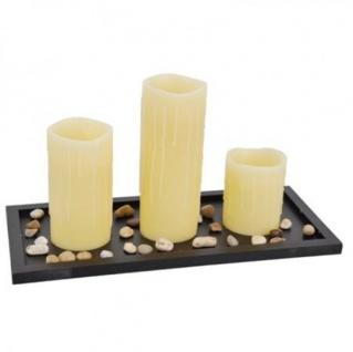 LED-Kerzen 3er-Set auf Tablett mit Dekosteine Wachskerzen Stumpenkerze Vanille