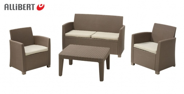 Allibert Lounge Sitzgruppe Merida Cappuccino Gartenmöbel Möbelset Terrassenmöbel