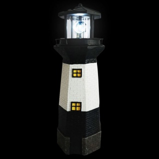 Solar-Leuchtturm 38cm mit rotierendem LED-Licht maritime Gartendeko Terrasse - Vorschau 2