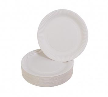 100er-Set Pappteller weiß Ø23cm Einweggeschirr Imbissteller Partyteller Catering