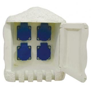 Außensteckdose Steinoptik 4fach Gartensteckdose Verteiler Steckdosenleiste IP44