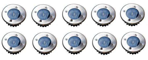 10x LED Solar-Bodeneinbauleuchte Bodenstrahler Bodeneinbaustrahler Solarlampen