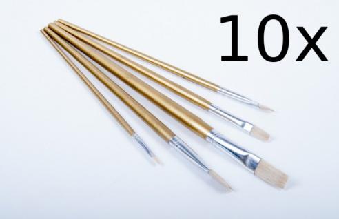 10x Pinselset 5-tlg. Flachpinsel Künstlerpinsel Malpinsel Malerpinsel Pinsel