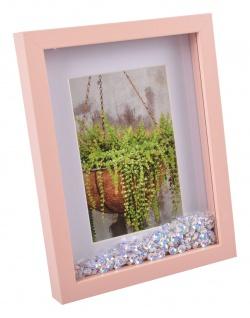 Fotorahmen rosa mit Glitzer-Pailletten 22x17cm Bilderrahmen Foto Rahmen Deko