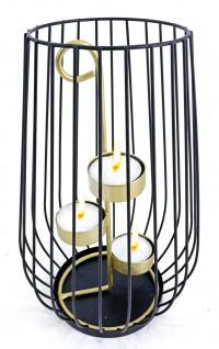 Windlicht mit Halter für 3 Teelichte Metall Teelichthalter Kerzenhalter