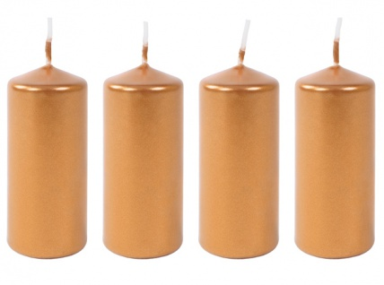 4er-Set Metallic-Stumpenkerzen glatt 40x90mm Bronze Dekoration Kränze Gestecke