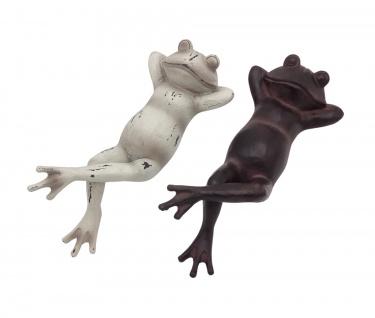 Dekofigur Frosch liegend Skulptur Gartendeko Terrassendeko Teichdeko braun weiß