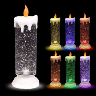 LED-Glitterkerze mit Farbwechsler 24cm Weihnachtskerze Adventskerze Motivkerze