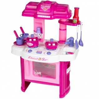 Kinder Spielküche pink Küche Kochfeld Backofen Kochtopf Pfanne Geschirr Besteck