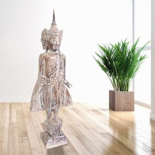 Buddha 100cm weiß Dekofigur Skulptur Holzfigur Buddhafigur Statue Thailand