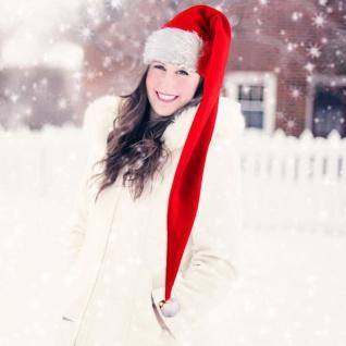 Nikolausmütze mit Glöckchen lang Weihnachtsmütze Santa Claus Mütze Wichtelmütze