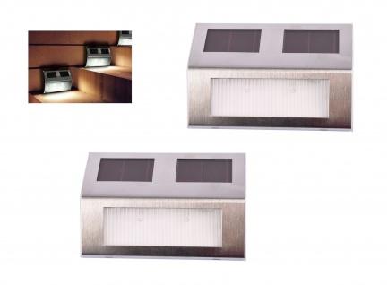 Solar Treppenstrahler 2er-Set Treppenlampe Stufenlicht Treppenbeleuchtung Garten