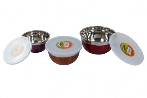 Edelstahl Salatschüssel Set Deckel Rührschüssel Servierschüssel Dessertschale