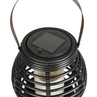Solar Gartenlaterne Rattanoptik Flackerkerze Gartenleuchte Gartendeko Solarlampe - Vorschau 3