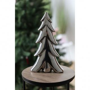 Deko-Tanne aus Keramik 16x27, 5x5cm Silber Tannenbaum Winterdeko Weihnachtsdeko