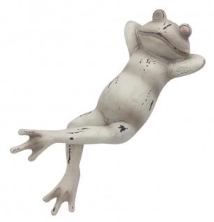 Dekofigur Frosch liegend Skulptur Gartendeko Terrassendeko Teichdeko braun weiß - Vorschau 4