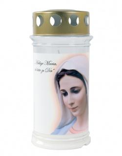 Grabkerze Madonna 17cm Tagebrenner Gedenkkerze Grablicht Grabschmuck Kerze