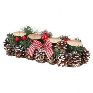 Adventsgesteck 35x15cm Weihnachtsgesteck Weihnachtsdeko Adventskranz Adventsdeko - Vorschau 2