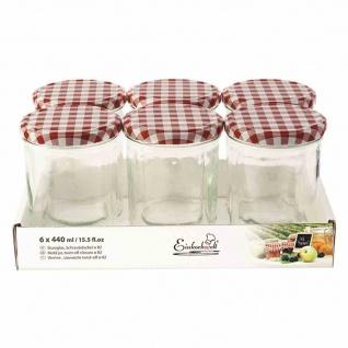 Sturzglas TO82 6x440ml + Schraubdeckel rot/weiß Vorratsgefäße Vorratsglas kochen
