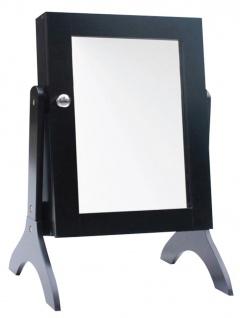 Schmuckschrank mit Spiegel schwarz Standspiegel Schmuckkasten Kette Ring Ohrring