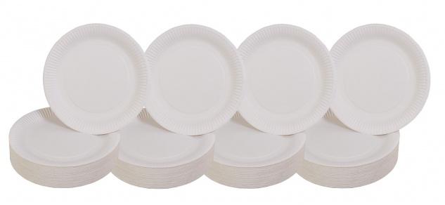 400er-Set Pappteller weiß Ø23cm Einweggeschirr Imbissteller Partyteller Catering