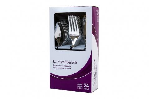 Kunststoffbesteck 24 tlg. Besteckset Essbesteck Löffel Gabeln Messer Menübesteck