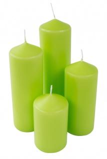 4er-Set Laternenkerze grün Stumpenkerze Adventskerze Kaminkerze Altarkerze