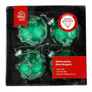 Glas-Weihnachtsbaumkugeln grün 4er-Set Christbaumschmuck Weihnachtsdeko 6cm