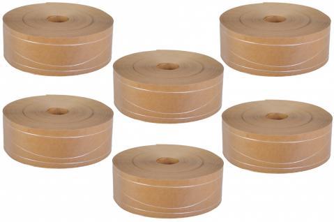 6er Set Nassklebeband m 2 Längs & 1 Sinusfaden ohne Kern Papier braun 6cm x 200m